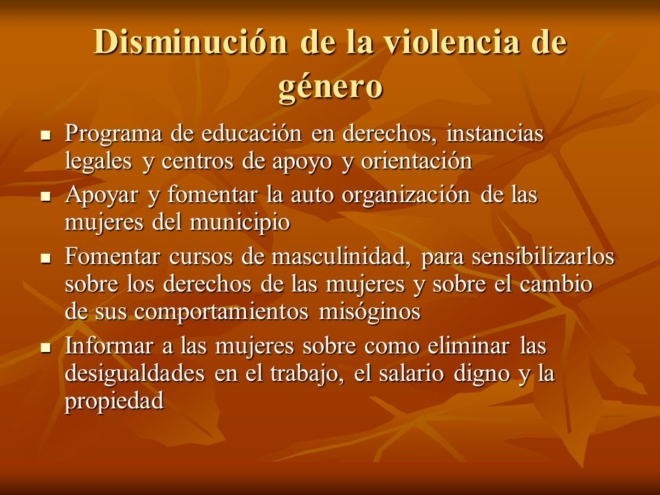 Disminución de la violencia de género
