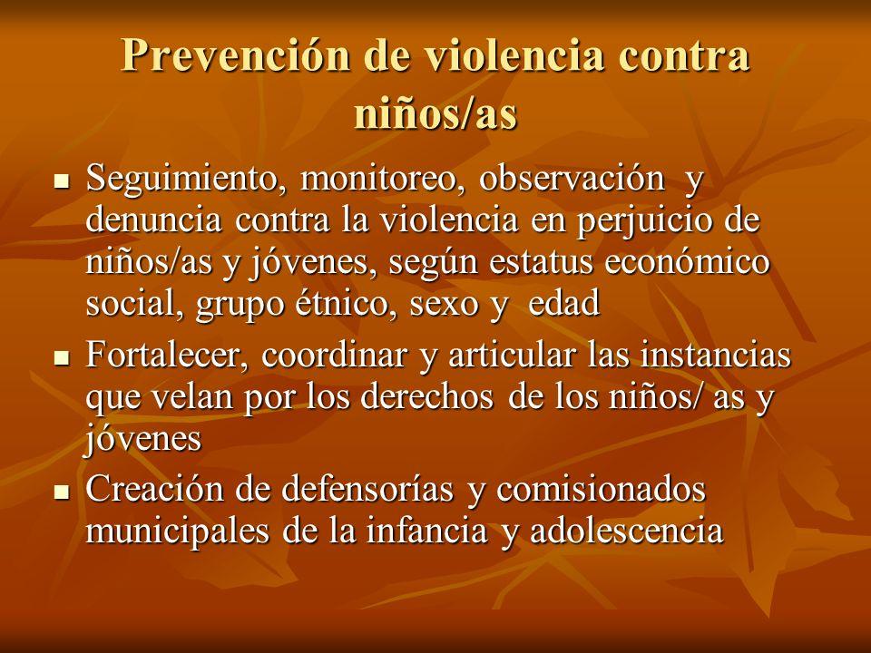 Prevención de violencia contra niños/as