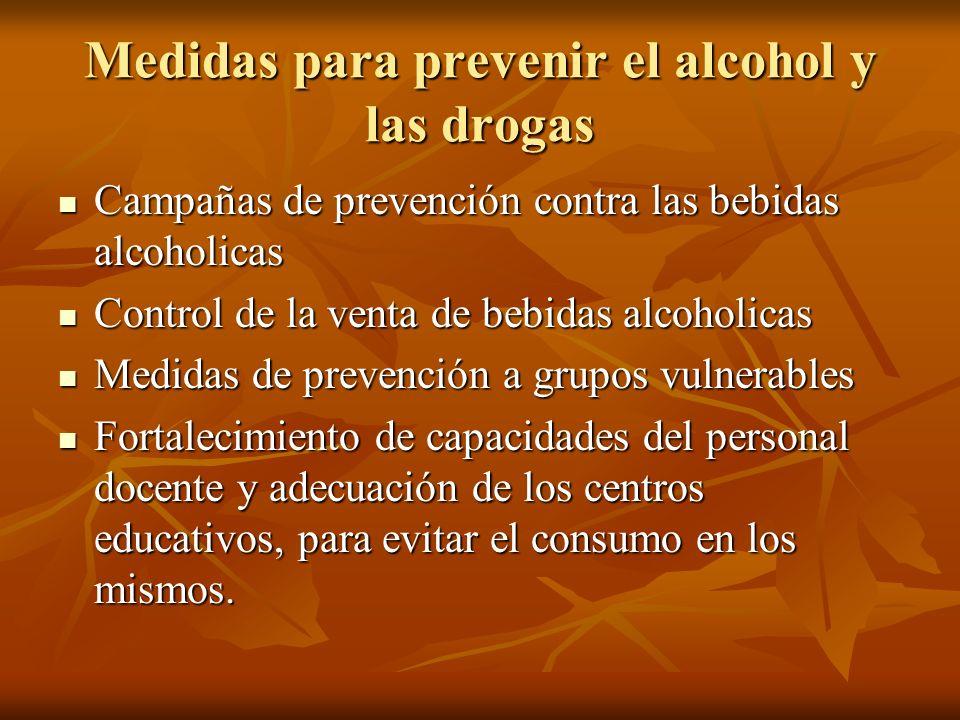 Medidas para prevenir el alcohol y las drogas