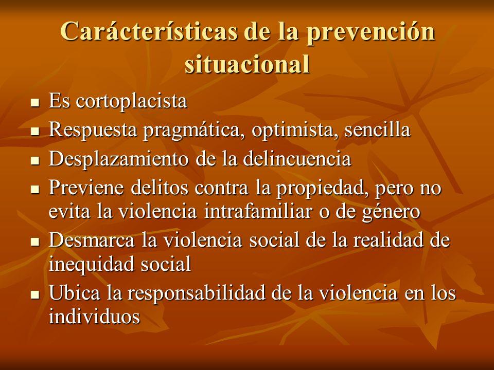 Carácterísticas de la prevención situacional