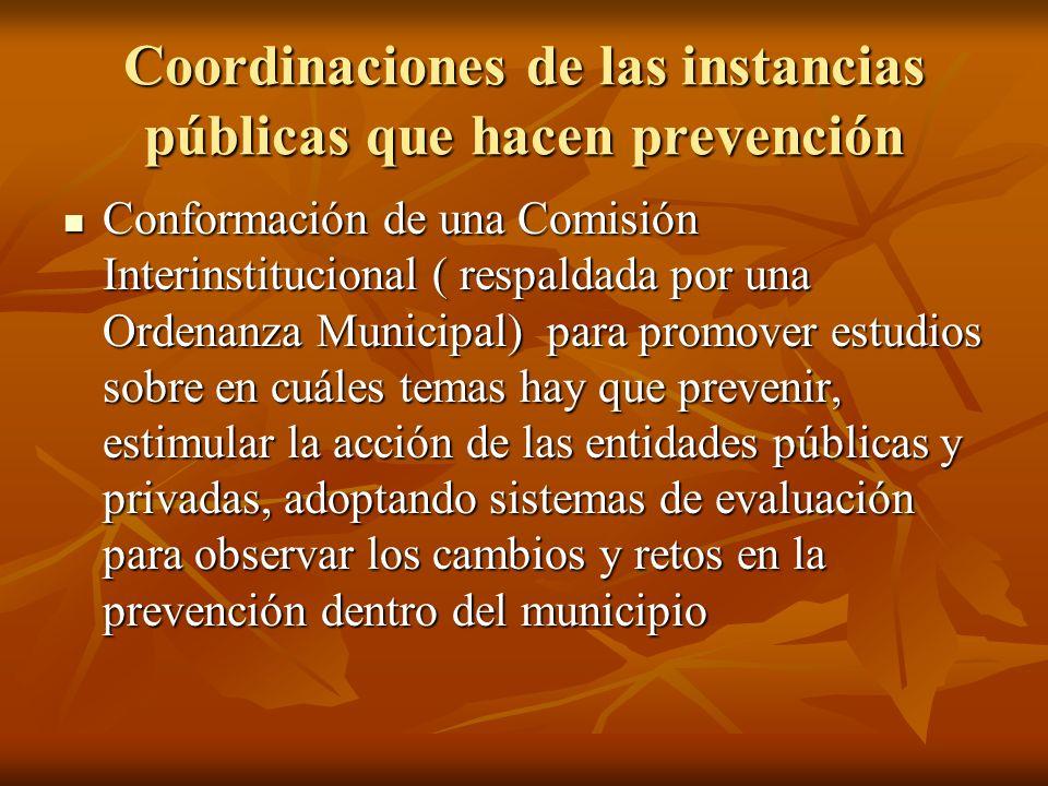 Coordinaciones de las instancias públicas que hacen prevención