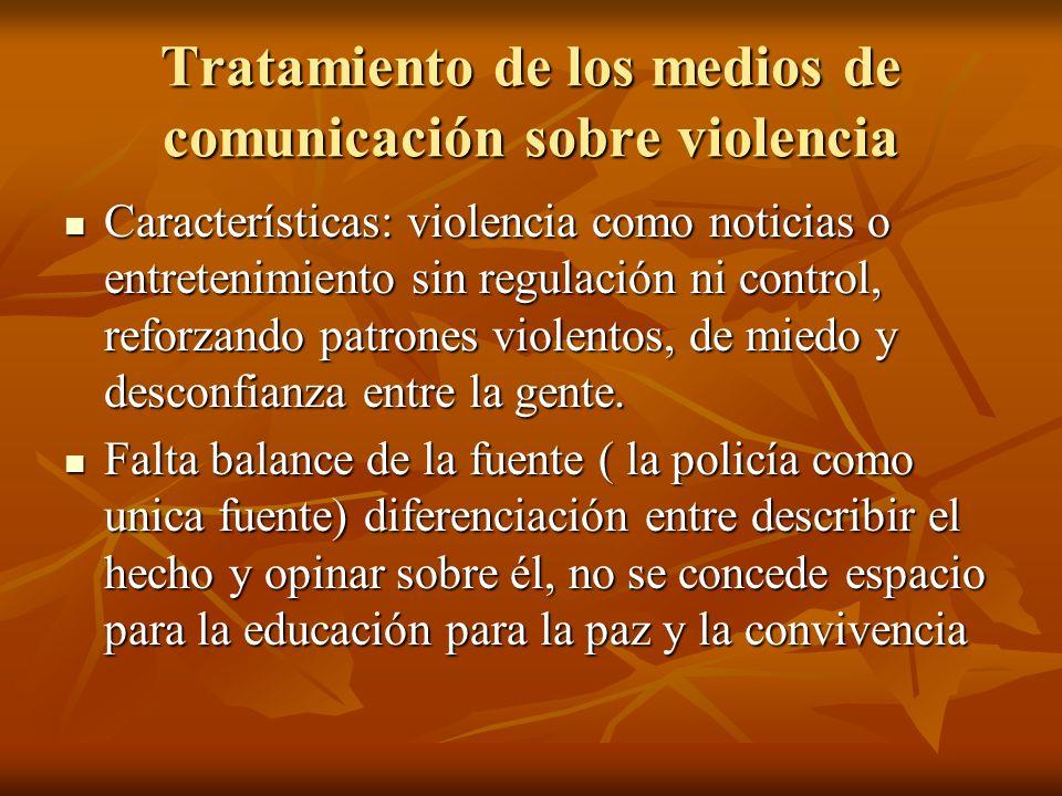 Tratamiento de los medios de comunicación sobre violencia