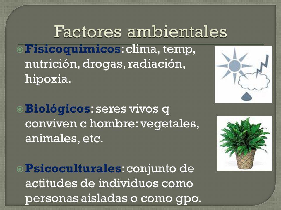 Factores ambientales Fisicoquimicos: clima, temp, nutrición, drogas, radiación, hipoxia.