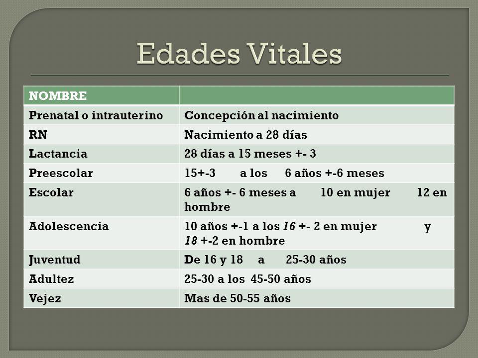 Edades Vitales NOMBRE Prenatal o intrauterino Concepción al nacimiento