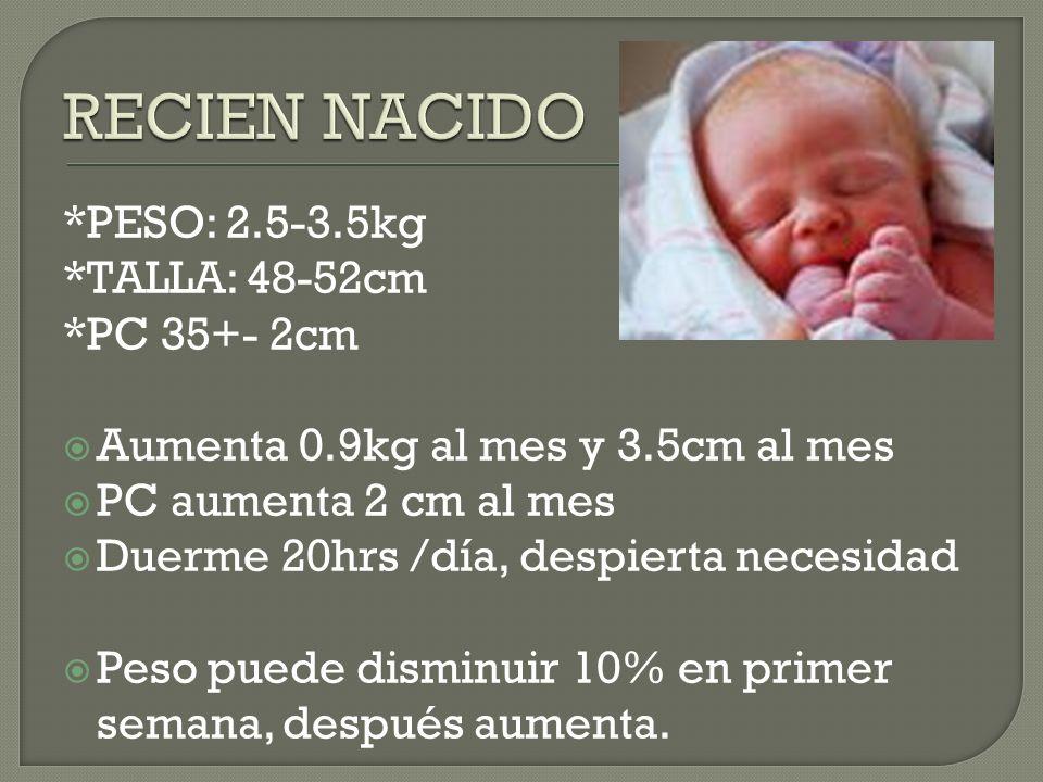 RECIEN NACIDO *PESO: 2.5-3.5kg *TALLA: 48-52cm *PC 35+- 2cm