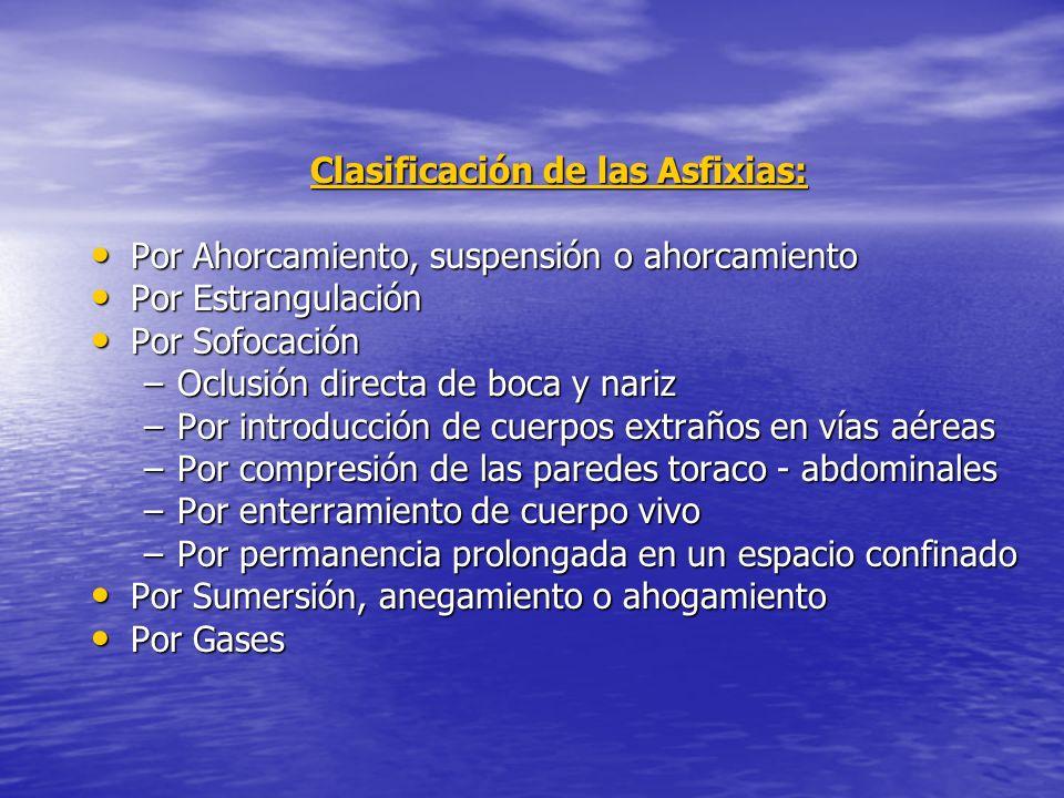 Clasificación de las Asfixias: