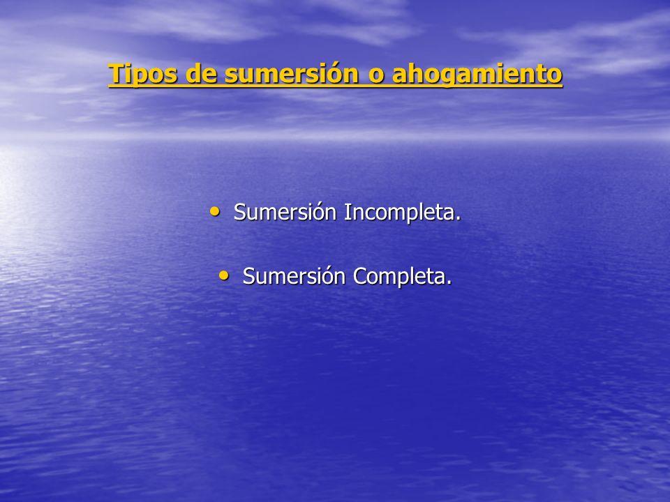 Tipos de sumersión o ahogamiento