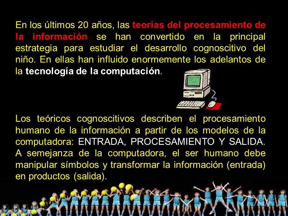 En los últimos 20 años, las teorías del procesamiento de la información se han convertido en la principal estrategia para estudiar el desarrollo cognoscitivo del niño. En ellas han influido enormemente los adelantos de la tecnología de la computación.