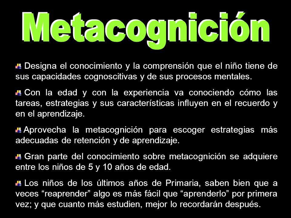 Metacognición Designa el conocimiento y la comprensión que el niño tiene de sus capacidades cognoscitivas y de sus procesos mentales.
