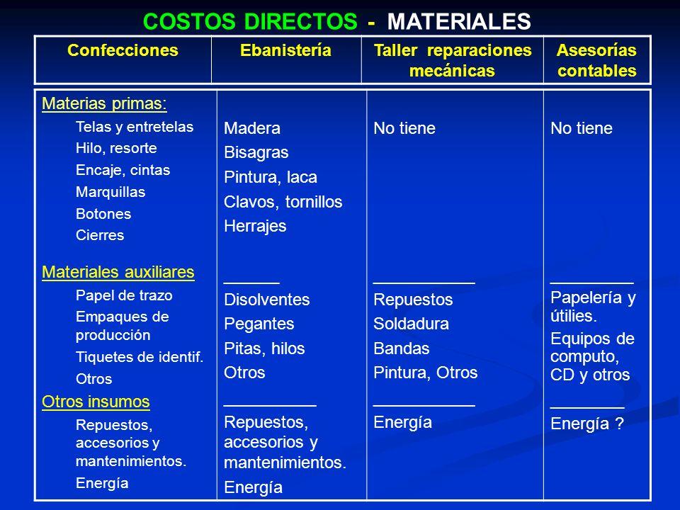 COSTOS DIRECTOS - MATERIALES Taller reparaciones mecánicas