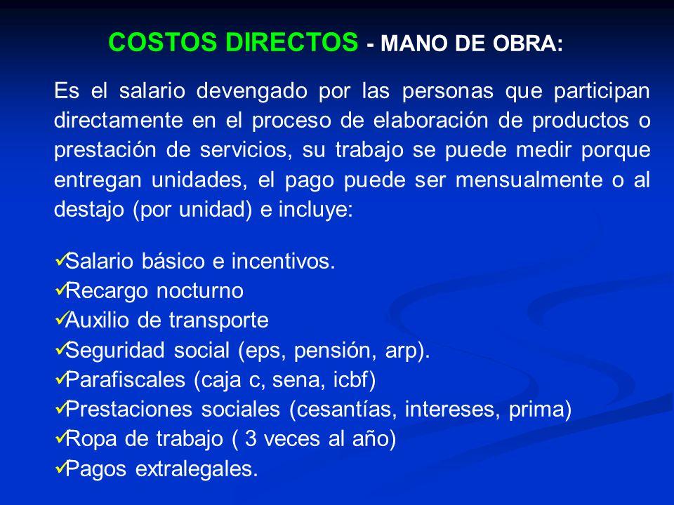 COSTOS DIRECTOS - MANO DE OBRA: