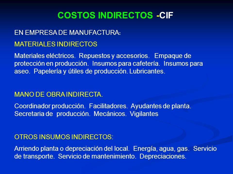 COSTOS INDIRECTOS -CIF