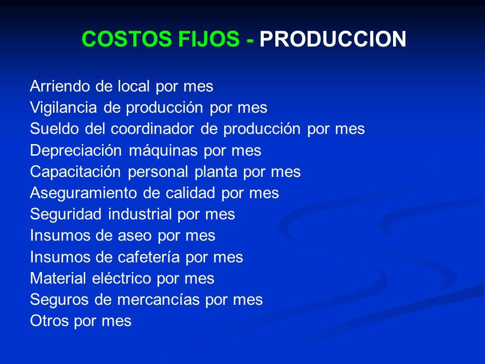 COSTOS FIJOS - PRODUCCION