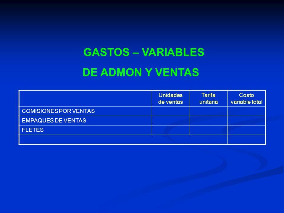 GASTOS – VARIABLES DE ADMON Y VENTAS