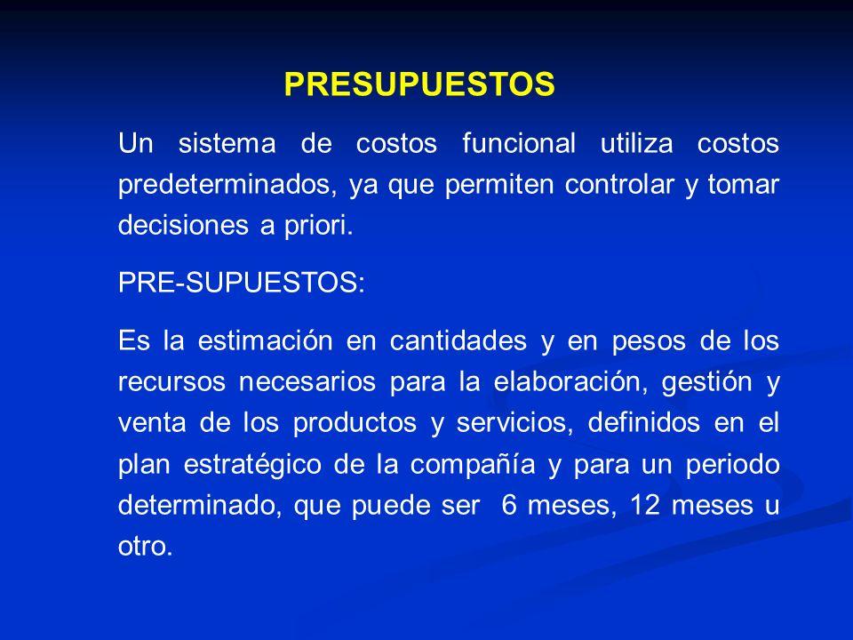 PRESUPUESTOS Un sistema de costos funcional utiliza costos predeterminados, ya que permiten controlar y tomar decisiones a priori.