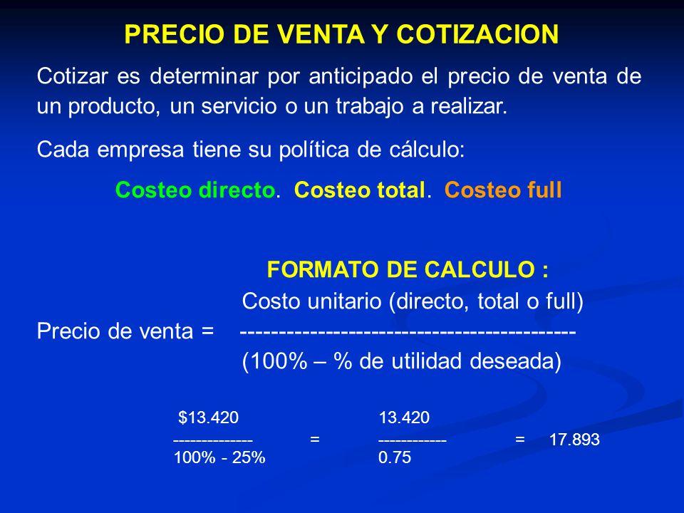 PRECIO DE VENTA Y COTIZACION