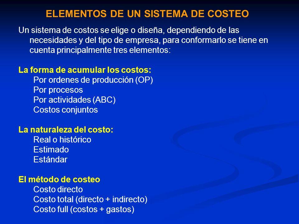 ELEMENTOS DE UN SISTEMA DE COSTEO