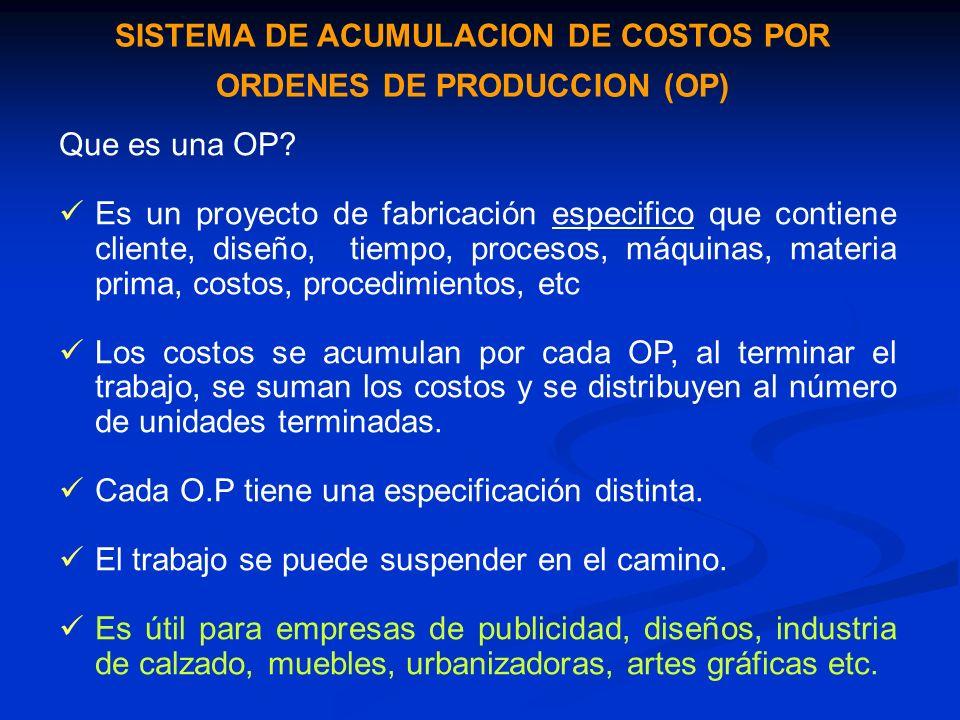 SISTEMA DE ACUMULACION DE COSTOS POR ORDENES DE PRODUCCION (OP)