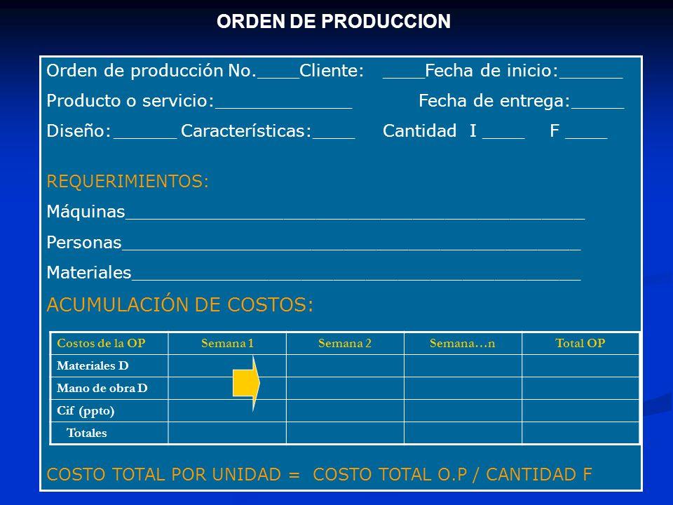 ACUMULACIÓN DE COSTOS: