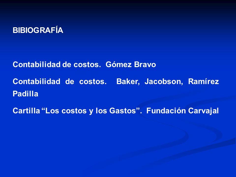 BIBIOGRAFÍA Contabilidad de costos. Gómez Bravo. Contabilidad de costos. Baker, Jacobson, Ramírez Padilla.