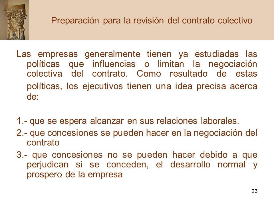 Preparación para la revisión del contrato colectivo