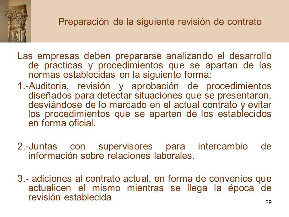 Preparación de la siguiente revisión de contrato