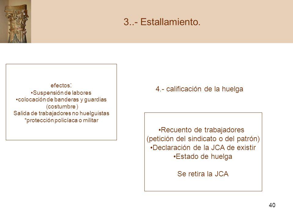 3..- Estallamiento. 4.- calificación de la huelga