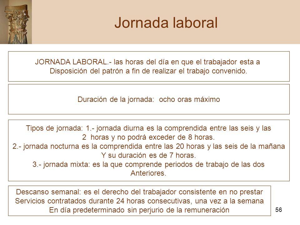 Jornada laboral JORNADA LABORAL.- las horas del día en que el trabajador esta a. Disposición del patrón a fin de realizar el trabajo convenido.