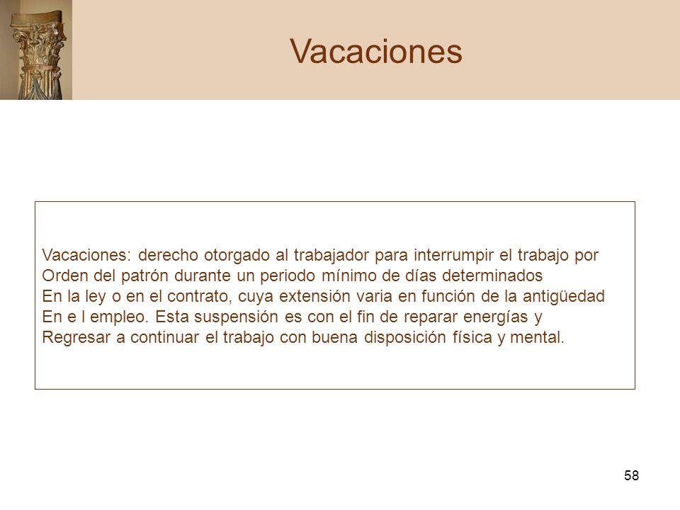 Vacaciones Vacaciones: derecho otorgado al trabajador para interrumpir el trabajo por.
