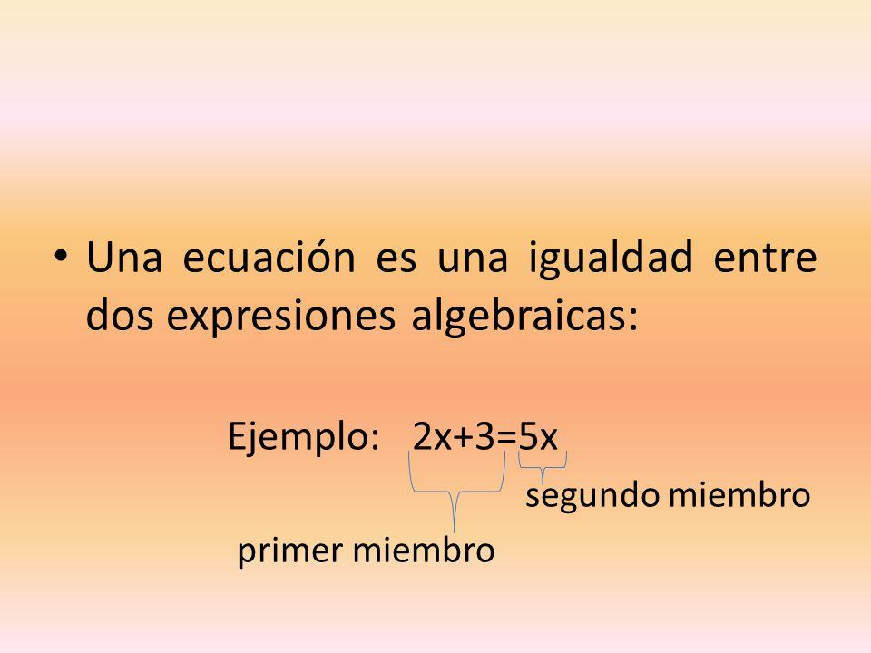 Una ecuación es una igualdad entre dos expresiones algebraicas: