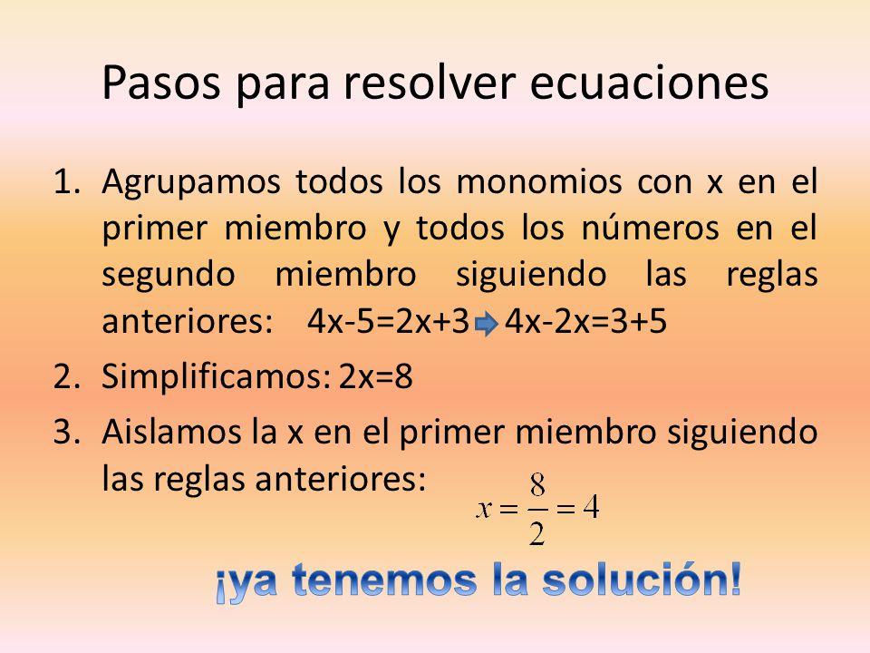 Pasos para resolver ecuaciones