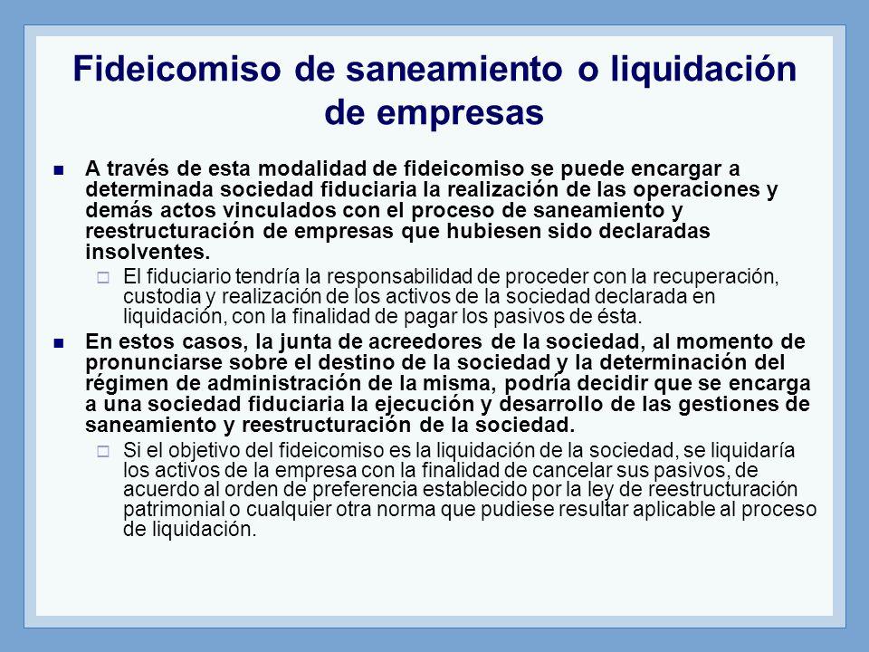 Fideicomiso de saneamiento o liquidación de empresas