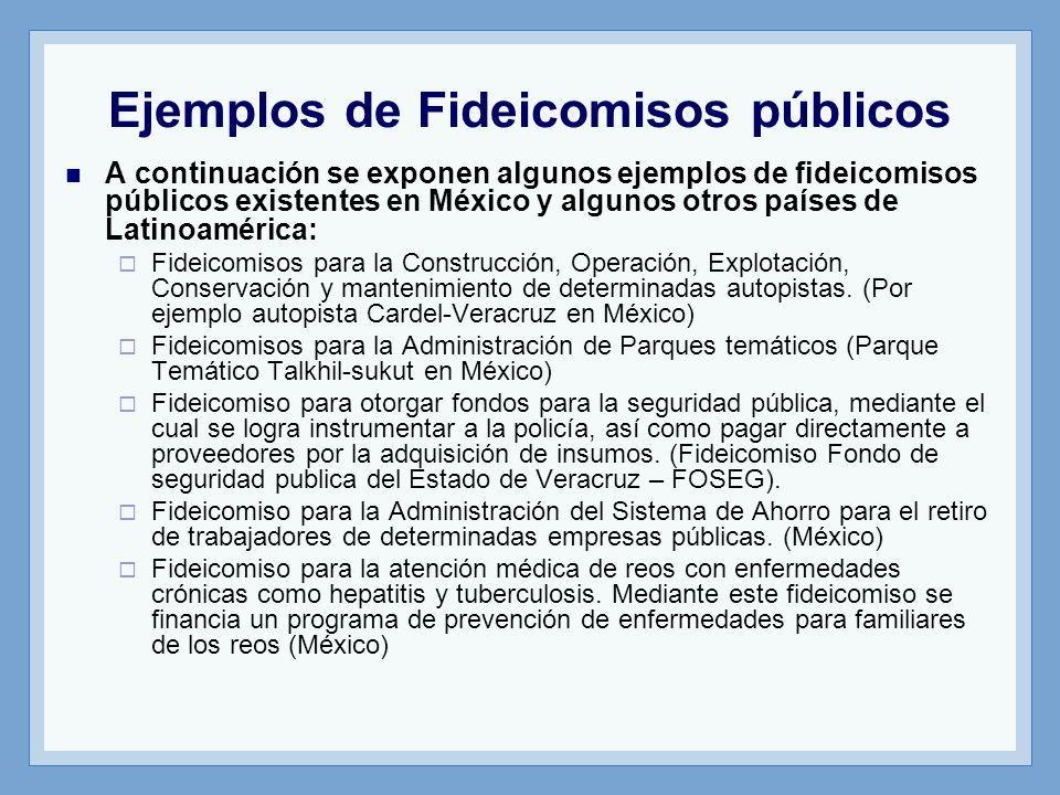 Ejemplos de Fideicomisos públicos