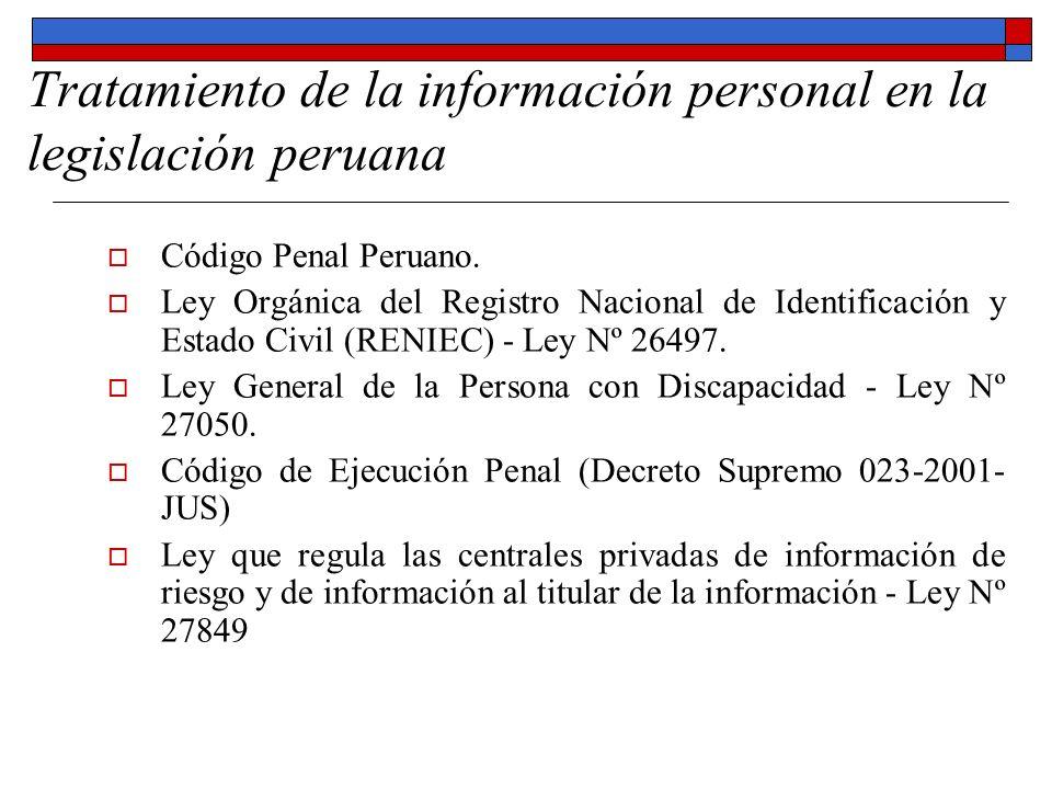 Tratamiento de la información personal en la legislación peruana
