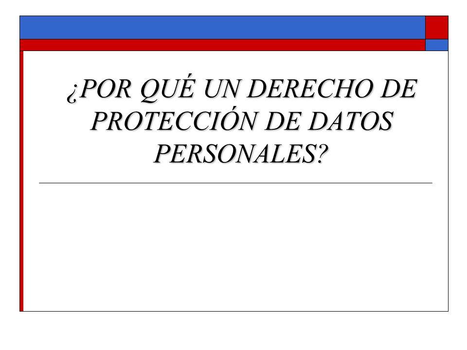 ¿POR QUÉ UN DERECHO DE PROTECCIÓN DE DATOS PERSONALES