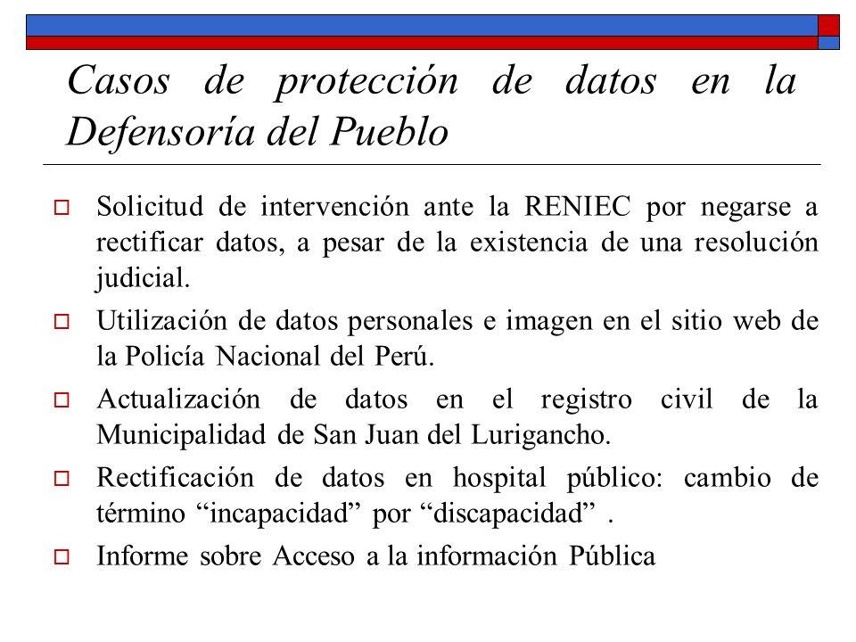Casos de protección de datos en la Defensoría del Pueblo