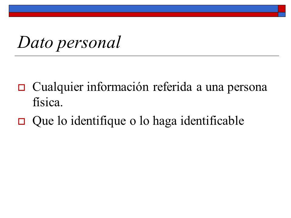 Dato personal Cualquier información referida a una persona física.