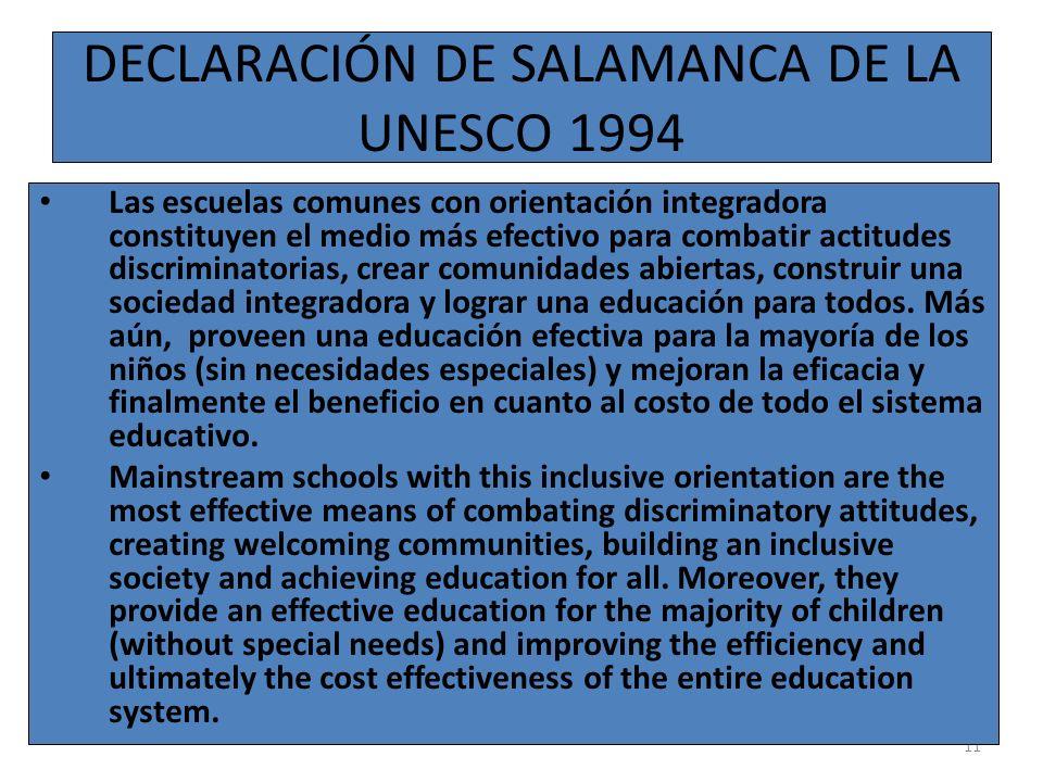 DECLARACIÓN DE SALAMANCA DE LA UNESCO 1994