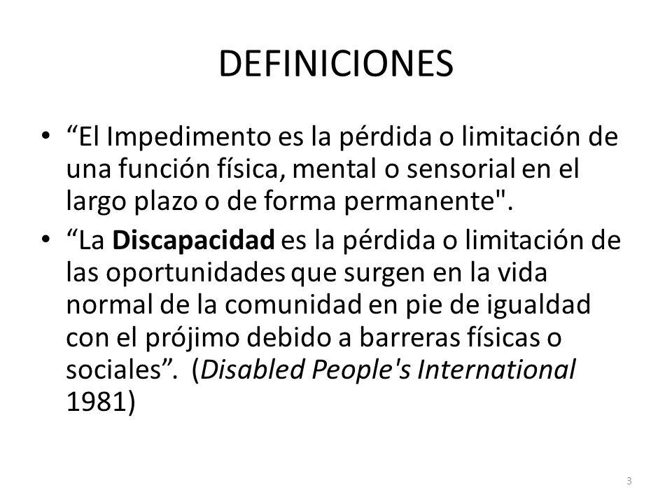 DEFINICIONES El Impedimento es la pérdida o limitación de una función física, mental o sensorial en el largo plazo o de forma permanente .