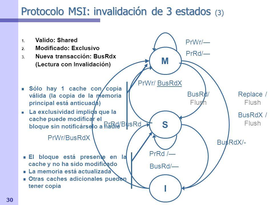 Protocolo MSI: invalidación de 3 estados (3)