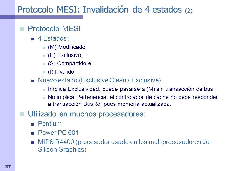 Protocolo MESI: Invalidación de 4 estados (2)