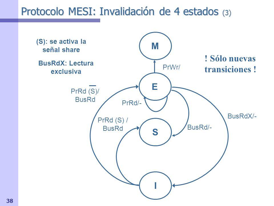 Protocolo MESI: Invalidación de 4 estados (3)