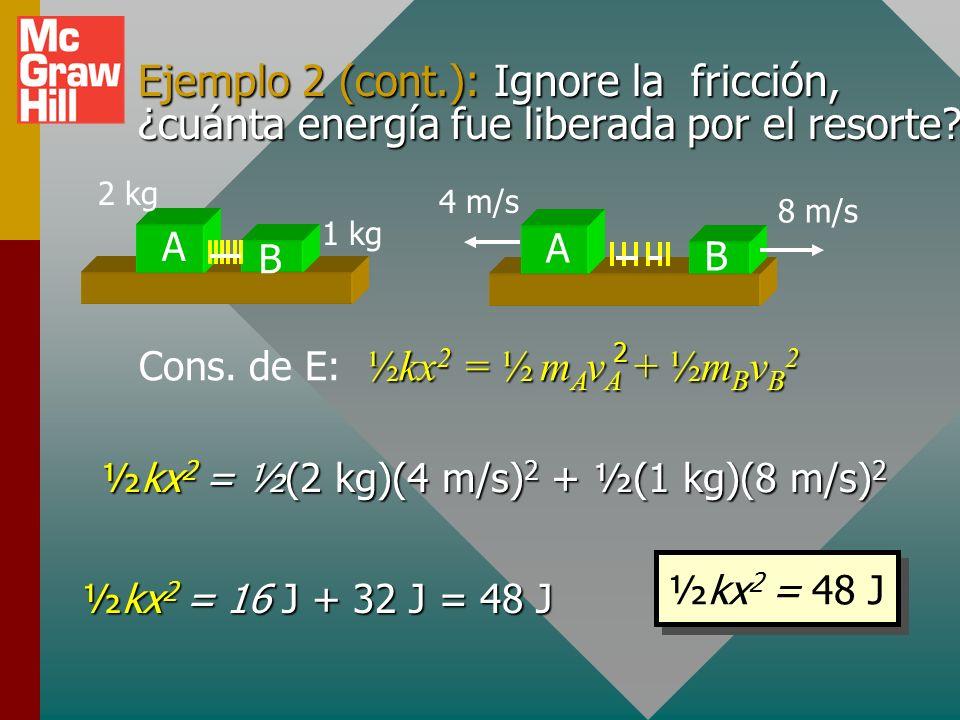 Ejemplo 2 (cont.): Ignore la fricción, ¿cuánta energía fue liberada por el resorte