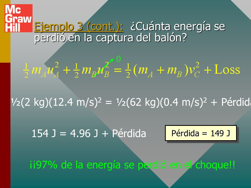 Ejemplo 3 (cont.): ¿Cuánta energía se perdió en la captura del balón