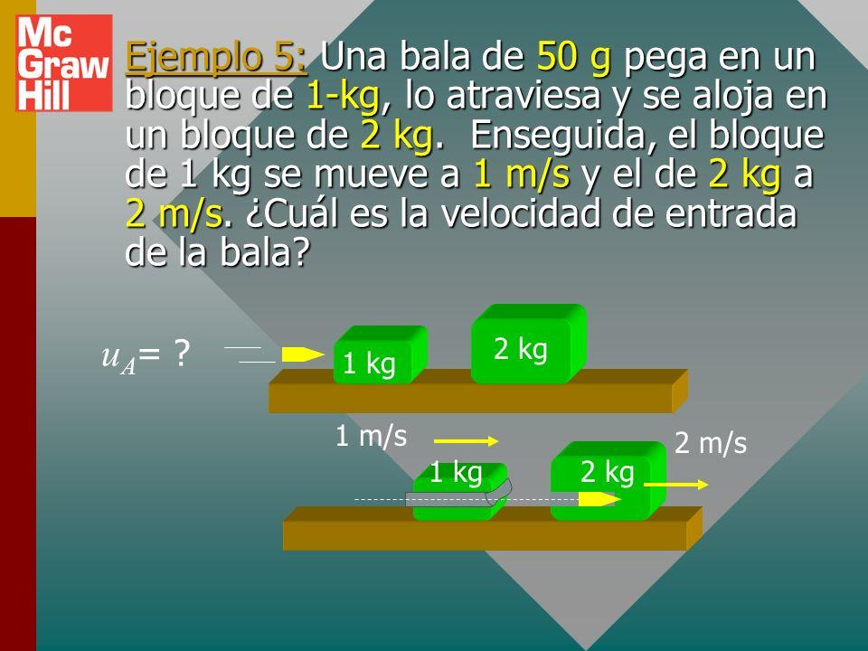 Ejemplo 5: Una bala de 50 g pega en un bloque de 1-kg, lo atraviesa y se aloja en un bloque de 2 kg. Enseguida, el bloque de 1 kg se mueve a 1 m/s y el de 2 kg a 2 m/s. ¿Cuál es la velocidad de entrada de la bala