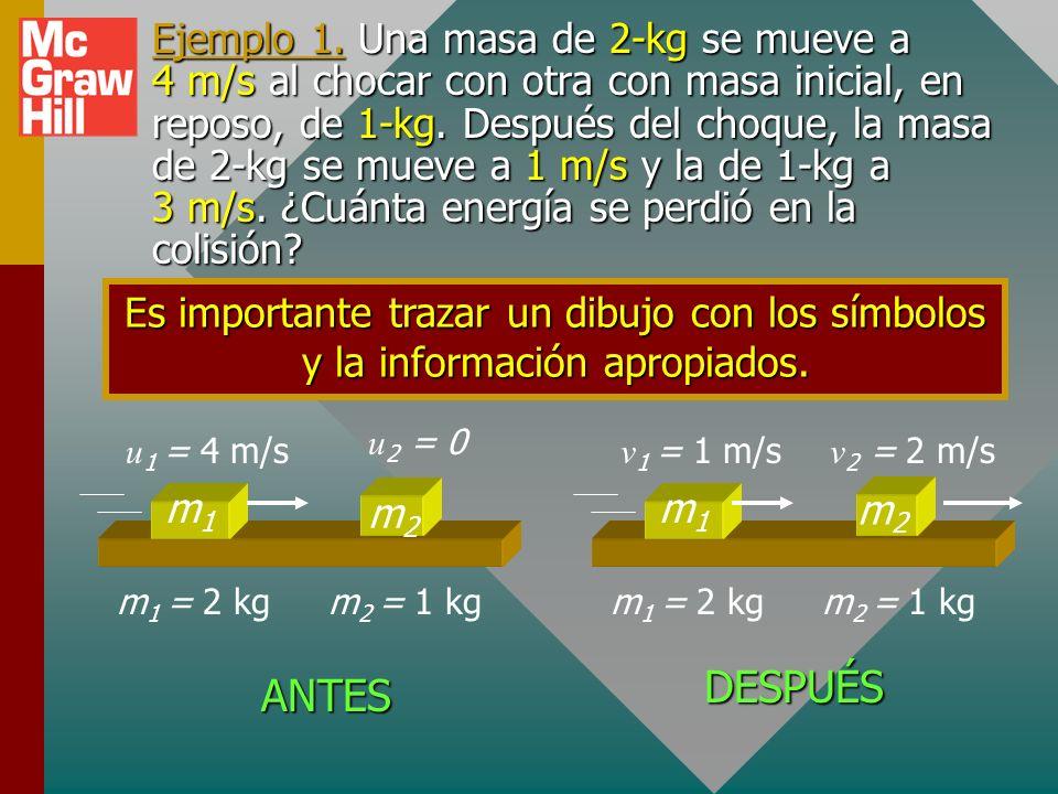 Ejemplo 1. Una masa de 2-kg se mueve a 4 m/s al chocar con otra con masa inicial, en reposo, de 1-kg. Después del choque, la masa de 2-kg se mueve a 1 m/s y la de 1-kg a 3 m/s. ¿Cuánta energía se perdió en la colisión