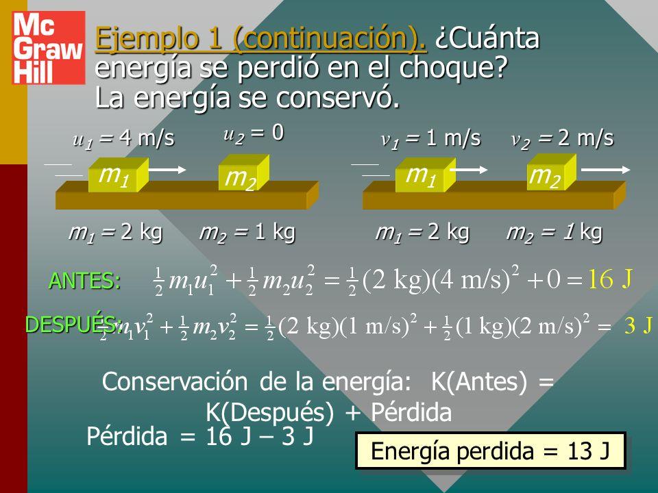 Conservación de la energía: K(Antes) = K(Después) + Pérdida