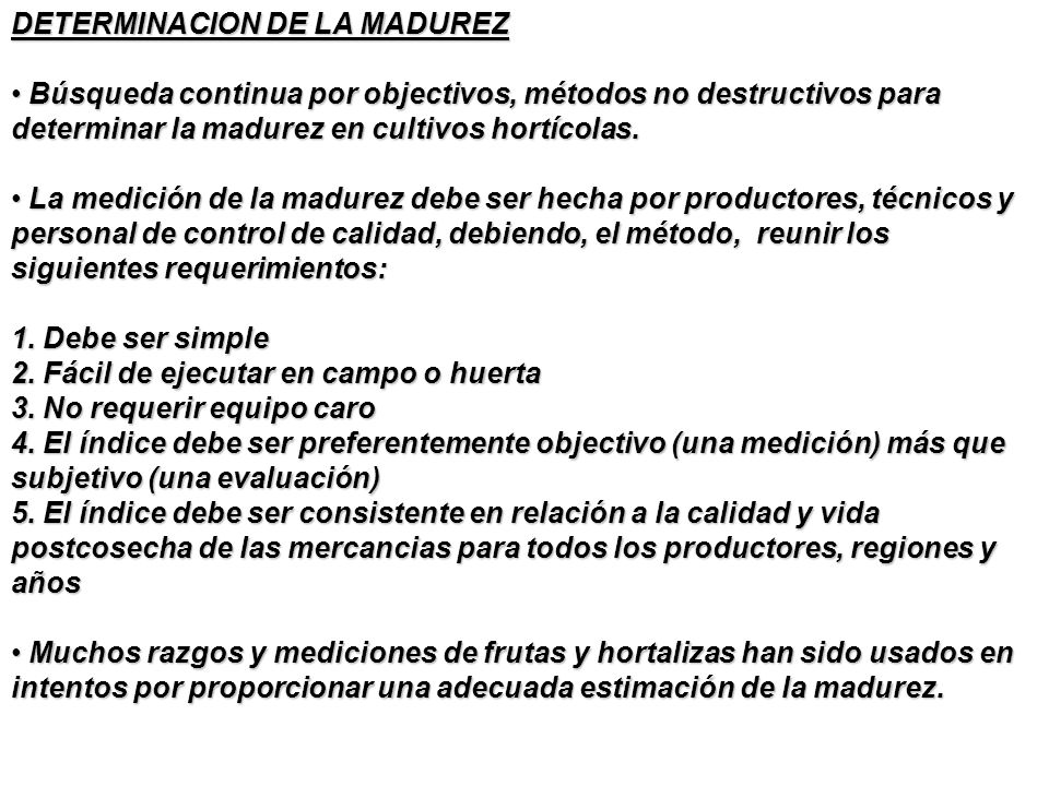 DETERMINACION DE LA MADUREZ