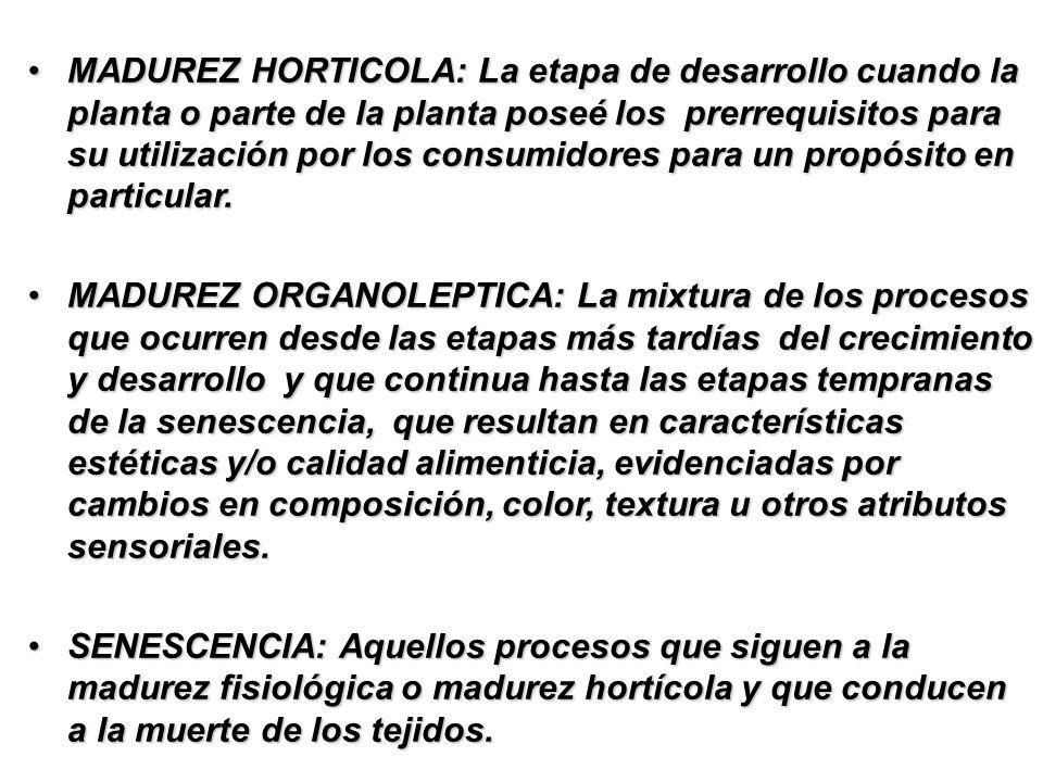 MADUREZ HORTICOLA: La etapa de desarrollo cuando la planta o parte de la planta poseé los prerrequisitos para su utilización por los consumidores para un propósito en particular.