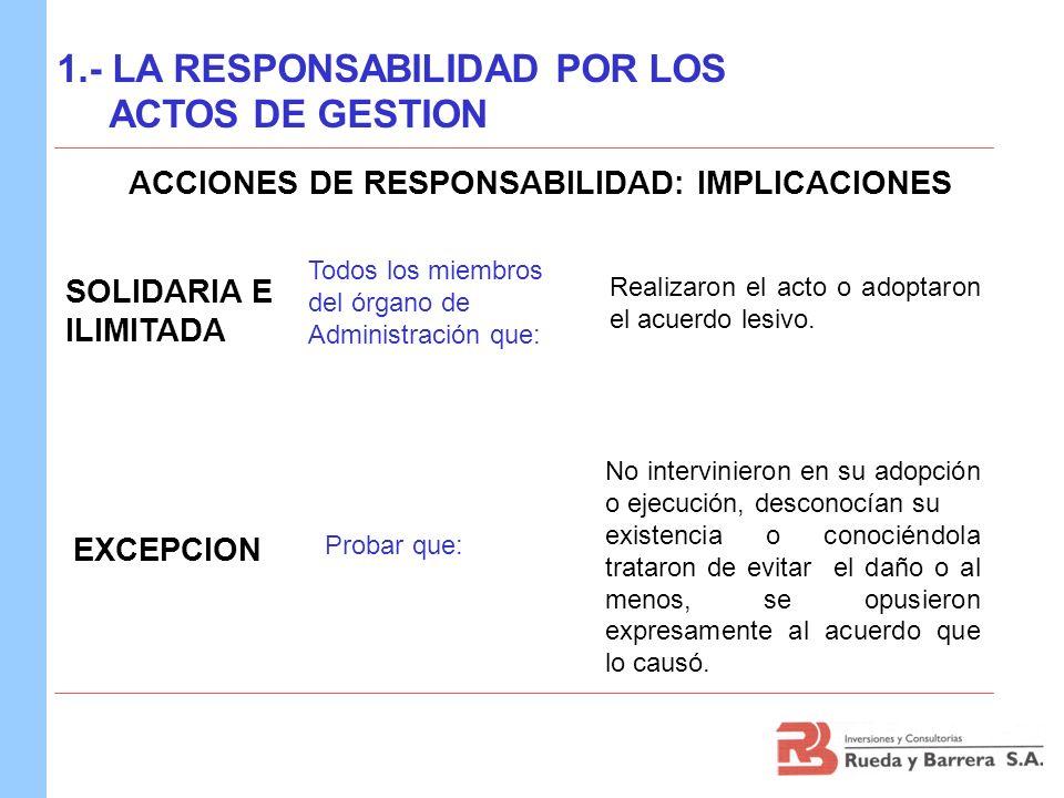 ACCIONES DE RESPONSABILIDAD: IMPLICACIONES